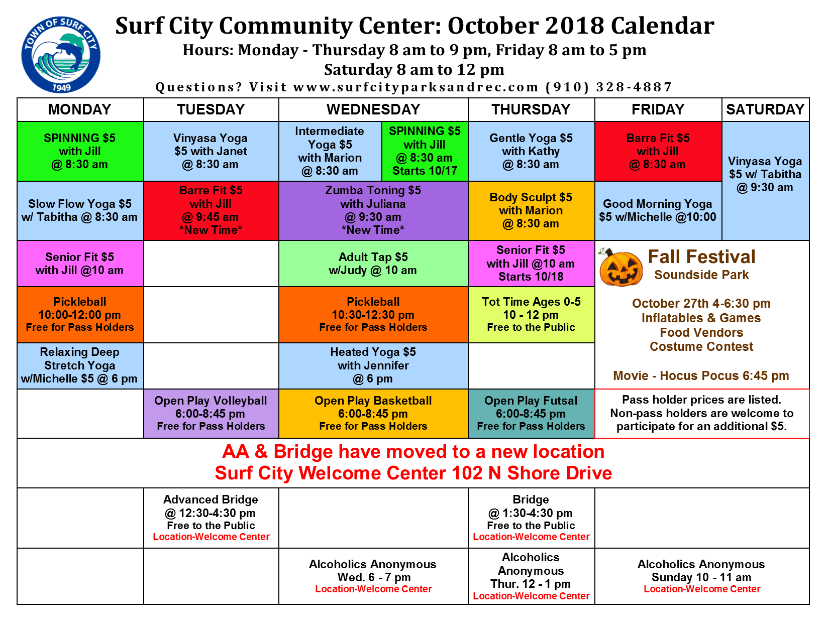 October 2018 Group Fitness Schedule