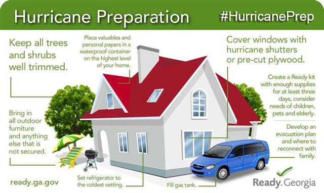 Keep trees trimmed, place valuables in waterproof container, cover windows, fill gas tank, bring in